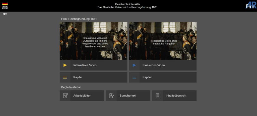Auswahlseite Geschichte interaktiv